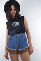 Vintage 90s High-Waisted Denim Faux Suede Fringe Shorts -- Size 26