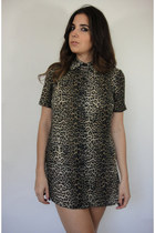 Vintage Sheer Leopard Print Mini Shirtdress