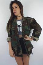 Vintage Oversized Camouflage Print Army Jacket