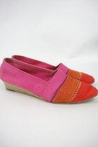 Vintage Hot Pink and Orange Color Block Espadrille Wedges Size 8