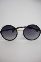Round Black Faux Gold Detail Sunglasses