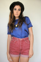 Vintage 90s Dusty Rose High-Waist Roll Cuff Denim Shorts - Size 27