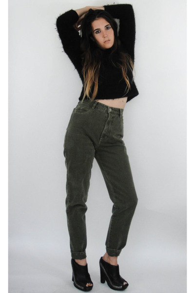 Vintage 90s Moss Green High-Waist Skinny Jeans -- Size 27 by ...