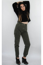 Vintage 90s Moss Green High-Waist Skinny Jeans -- Size 27