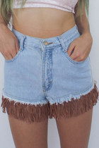 Vintage 90s High-Waisted Light Blue Faux Suede Fringe Shorts -- Size 26