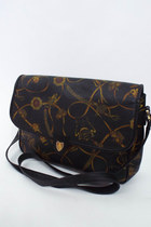 Vintage Baroque Print Leather Shoulder Bag