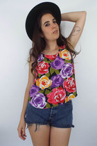 Vintage Colorful Rose Print Tank