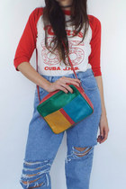 Vintage Square Color Block Shoulder Bag