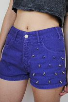 Spiked Vintage 90s High-Waist Purple Denim Shorts -- Size 28