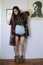 maroon vintage jacket - light brown litas Jeffrey Campbell boots
