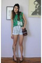 green celtics cropped vintage t-shirt - white vintage shirt - tawny vintage bag