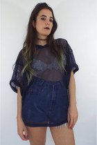 Vintage 90s Oversized Navy Blue Sheer Mesh Sports Top