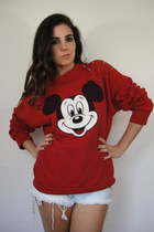 Spiked Shoulder Vintage Mickey Mouse Sweatshirt