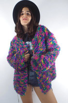 Rainbow Bright Vintage 90s Fuzzy Open Front Cardigan