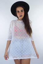 Vintage 80s Sheer White Mesh-Style Top