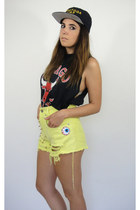 Super Creep Spiked Lime Green Vintage High Waist Shorts