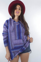 Vintage 90s Fitted Purple and Blue Striped Baja Hoodie