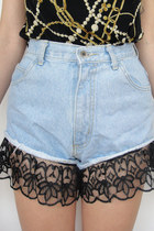 Vintage 90s High-Waisted Black Lace Trim Denim Shorts -- Size 26
