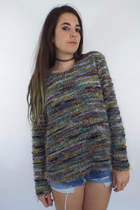 Vintage 90s Colorful Fuzzy Oversized Sweater