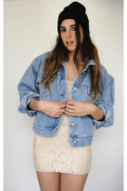 Vintage 90s Cropped Oversized Light Wash Denim Jacket