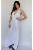 Dancing Queen Vintage 70s White and Gold Grecian-Style Wide Leg Jumpsuit