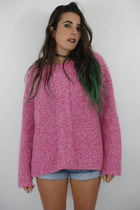 Pretty in Pink Vintage Oversized Chunky Knit Sweater
