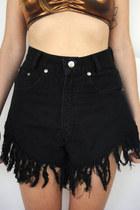 Vintage 90s High-Waisted Super Shredded Black Denim Shorts -- Size ...