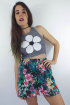 Vintage 90s High-Waisted Tropical Floral Print Shorts