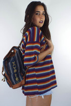 Vintage Faux Leather Ikat Print Drawstring Backpack