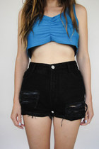 Vintage 90s High-Waisted Black Denim Shredded Shorts -- Size 26