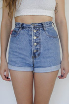 Vintage 90s Super High Waist Denim Roll Cuff Shorts -- Size 25