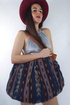 Vintage Leather Ikat Print Oversized Shoulder Bag
