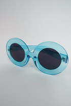 Mod Queen Super Oversized Round Sunglasses - Translucent Blue