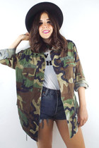 Vintage Oversized Faded Camouflage Print Army Jacket
