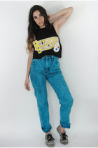 Vintage 90s Bright Blue Acid Wash High-Waist Jeans -- Size 26
