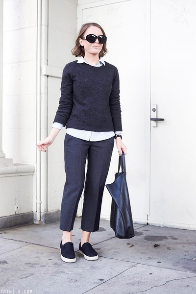 light blue JCrew shirt - dark gray Equipment sweater - black Celine bag