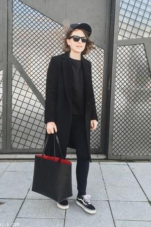 black Claudie Pierlot coat - black Mansur Gavriel bag - black Celine sunglasses