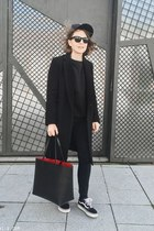black Claudie Pierlot coat - black Mansur Gavriel bag - black Celine sunglasses