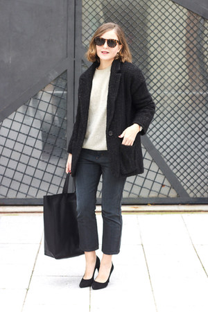 black Celine bag - dark brown Isabel Marant coat - dark gray acne jeans