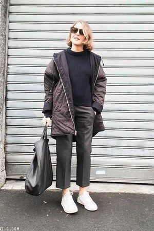 navy Maje coat - navy 31 Phillip Lim sweater - black Celine bag