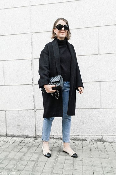 black Isabel Marant coat - light blue Topshop jeans - black Petit Bateau sweater