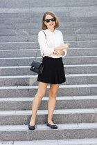 black Chanel bag - dark gray Equipment sweater - ivory The Kooples shirt