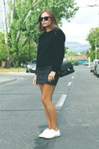 black Chanel bag - dark gray American Apparel shorts - black ray-ban sunglasses