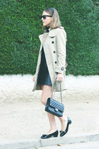 black Petit Bateau sweater - camel Burberry coat - black Chanel bag