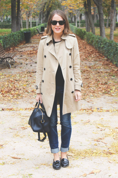 tan Burberry coat - navy rag & bone jeans - black The Kooples sweater