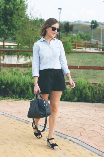 navy Louis Vuitton bag - light blue JCrew shirt - navy Wood Wood shorts
