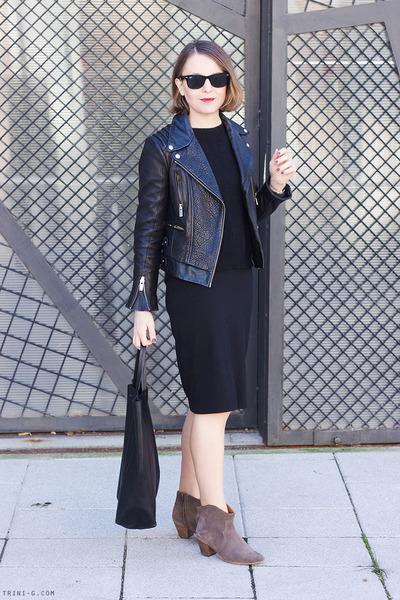 black Gap dress - light brown Isabel Marant boots - black The Kooples jacket