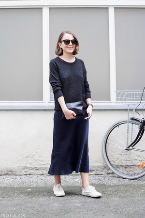navy Organic by John Patrick dress - gray Equipment sweater - navy Celine bag