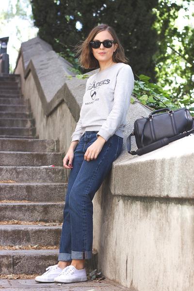 silver APC sweatshirt - blue MIH Jeans jeans - black Louis Vuitton bag