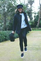 Louis Vuitton bag - acne jeans - Barbour jacket - Superga sneakers